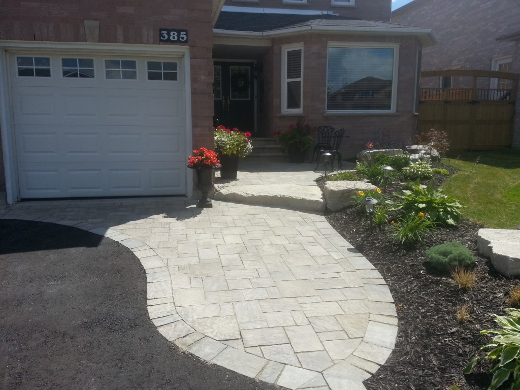 Front entrance and driveway banding