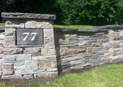 Dry laid stone entrance wall