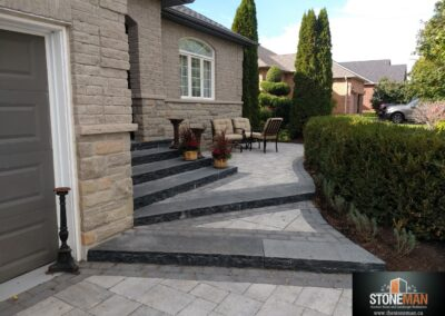 Driveway banding and natural stone steps